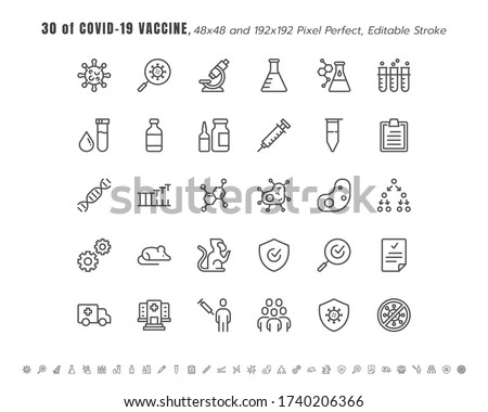 Simple Set of Covid-19, Coronavirus Vaccine Development Line Outline Icons. such Icons as Clinical Research, Antibody, Laboratory, Immune, Treatment, Injection, 48x48 Pixel Perfect. Editable Stroke.