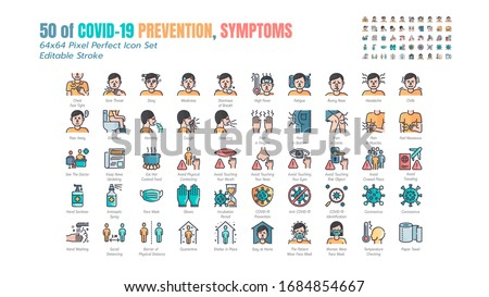 Simple Set of Covid-19 Prevention Filled Outline Icons. such Icons as Protective, Coronavirus, Social Distancing, Symptoms, Quarantine, Stay at Home, Hand Washing 64x64 Pixel Perfect. Editable Stroke. Stockfoto ©