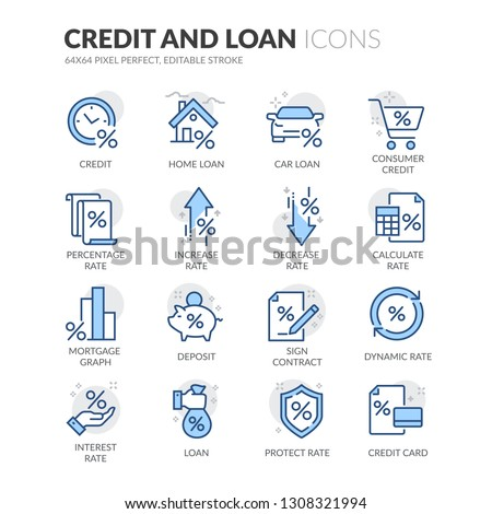 Simple Set of Credit and Loan Related Vector Line Icons. Contains such Icons as Rate Calculator, Credit Card, Deposit and more. Editable Stroke. 64x64 Pixel Perfect.