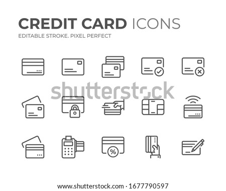 Simple Set of Credit Card Line Icons. Editable Stroke. Pixel Perfect.