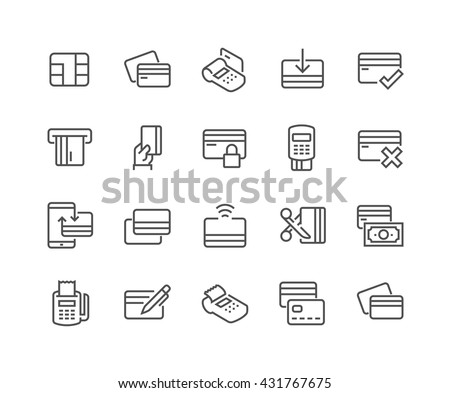 Simple Set of Credit Card Related Vector Line Icons.  Contains such Icons as Chip, Register, Safe Payment, Cash, Sync and more.  Editable Stroke. 48x48 Pixel Perfect.