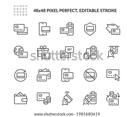 Simple Set of Credit Card Related Vector Line Icons. Contains such Icons as Wireless Payment, Do not accept cards sign, Wallet and more. Editable Stroke. 48x48 Pixel Perfect.