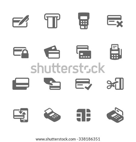 Simple Set of Credit Cards Related Vector Icons. Contains such icons as payment, chip, security, transactions and more. Modern vector pictogram collection.
