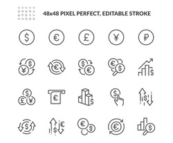 Simple Set of Currency Related Vector Line Icons. Contains such Icons as Exchange Rate and Currency Forecast, Change Graph. Editable Stroke. 48x48 Pixel Perfect.
