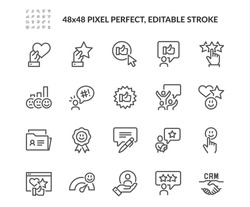 Simple Set of Customer Satisfaction Related Vector Line Icons.  Contains such Icons as CRM, User Feedback, Rating and more. Editable Stroke. 48x48 Pixel Perfect.