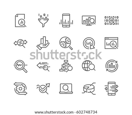 Simple Set of Data Analysis Related Vector Line Icons.  Contains such Icons as Charts, Graphs, Traffic Analysis, Big Data and more. Editable Stroke. 48x48 Pixel Perfect. #602748734