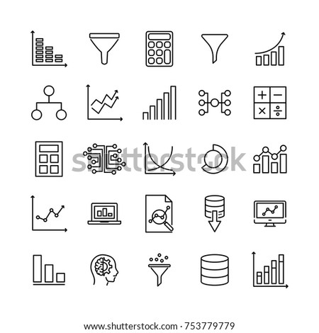 Simple set of data analytics related outline icons. Elements for mobile concept and web apps. Thin line vector icons for website design and development, app development. Premium pack.