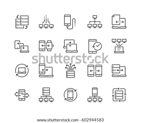 Simple Set of Data Exchange Related Vector Line Icons.  Contains such Icons as Phone Backup, Traffic, Sync and more. Editable Stroke.
