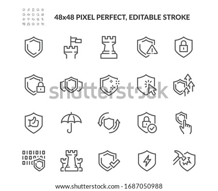 Simple Set of Defense Related Vector Line Icons. Contains such Icons as Computer Security, Umbrella, Shield and more. Editable Stroke. 48x48 Pixel Perfect.