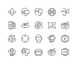 Simple Set of 360 Degree Image and Video Related Vector Line Icons.  Contains such Icons as 360 Degree View, Panorama, Virtual Reality Helmet, Rotation Arrows and more.