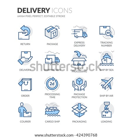 Shutterstock Simple Set of Delivery Related Color Vector Line Icons.  Contains such Icons as Loading, Express Delivery, Tracking Number Search, Cargo Ship and more.  Editable Stroke. 64x64 Pixel Perfect.