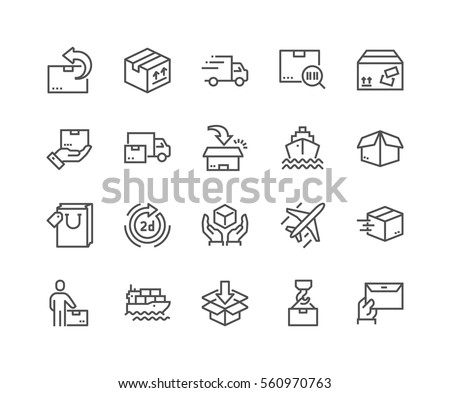 Simple Set of Delivery Related Vector Line Icons.  Contains such Icons as Priority Shipping, Express Delivery, Tracking Order and more. Editable Stroke. 48x48 Pixel Perfect. #560970763