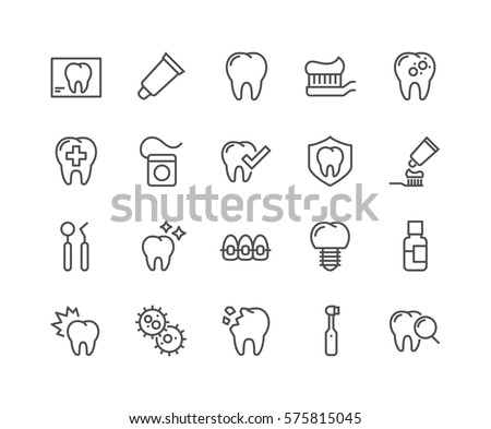 Simple Set of Dentist Related Vector Line Icons.  Contains such Icons as Implant, Electric Toothbrush, Floss and more. Editable Stroke. 48x48 Pixel Perfect.