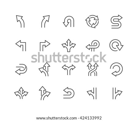 Simple Set of Direction Related Vector Line Icons.  Contains such Icons as Arrows, Turning, Direction and more.  Editable Stroke. 48x48 Pixel Perfect.