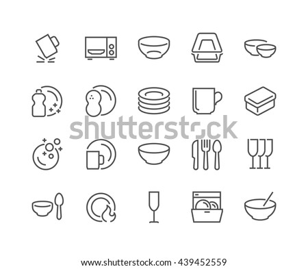 Simple Set of Dish and Plates Related Vector Line Icons.  Contains such Icons as Plate Stack, Wineglass, Detergent, Unbreakable Dishes and more