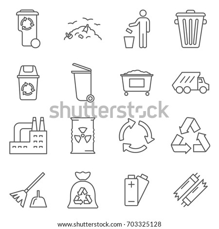 Simple Set of disposal Related Vector Line Icons. Contains such Icons as garbage, recycling, trash, scrap, rubbish, waste and more.