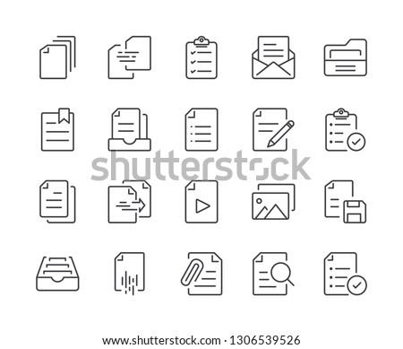Simple Set of Document Line Icon. Editable Stroke