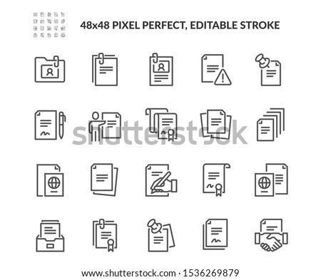 Simple Set of Documents Related Vector Line Icons. Contains such Icons as Contract, Passport, Blank Pages and more. Editable Stroke. 48x48 Pixel Perfect.