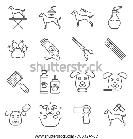 Simple Set of dog grooming Related Vector Line Icons. Contains such Icons as dog-grooming, washing, teeth brushing, nail trimming and more.