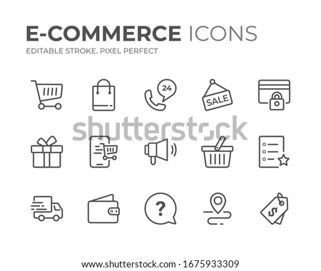 Simple Set of E-Commerce Line Icons. Editable Stroke. Pixel Perfect.
