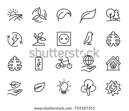 Simple set of ecology related outline icons. Elements for mobile concept and web apps. Thin line vector icons for website design and development, app development. Premium pack.