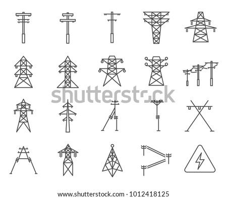 Simple Set of Electric tower Related Vector Line Icons. Contains such Icons as electricity, grid, tower, lightning discharge, wire, electric wire and more. Photo stock ©