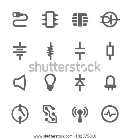 Simple set of electronic components related vector icons for your design