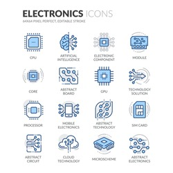 Simple Set of Electronics Related Color Vector Line Icons.  Contains such Icons as CPU, Artificial Intelligence, Sim Card and more.  Editable Stroke. 64x64 Pixel Perfect.