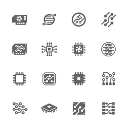 Simple Set of Electronics Related Vector Icons. Contains such icons as circuit, processor, micro-scheme and more.