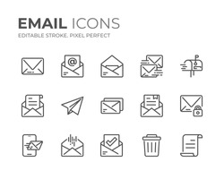 Simple Set of Email Line Icons. Editable Stroke. Pixel Perfect.