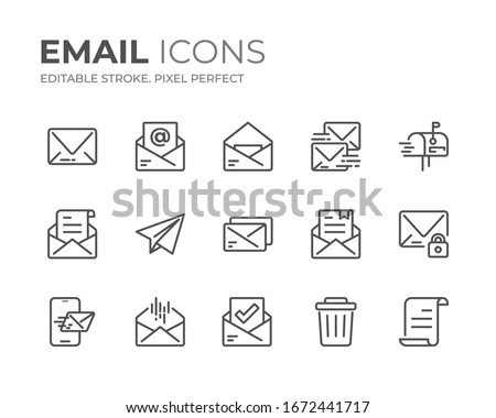 Simple Set of Email Line Icons. Editable Stroke. Pixel Perfect. Stock photo ©