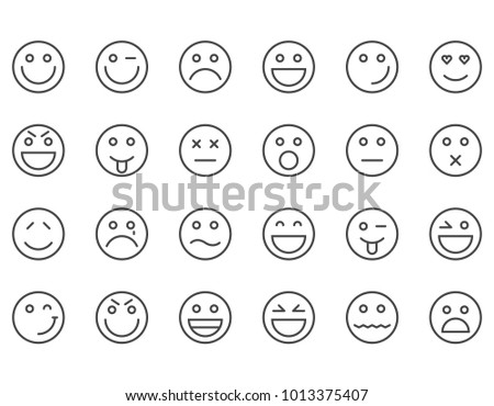Simple Set of Emoticons . Editable Stroke. 48x48 Pixel Perfect.