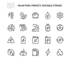 Simple Set of Energy Types Related Vector Line Icons. Contains such Icons as Hydroelectric Power Station, Solar Cells, Fossil Fuels and more. Editable Stroke. 48x48 Pixel Perfect.