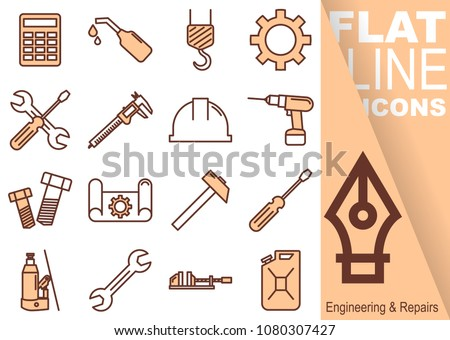 Simple Set of Engineering and Repairs vector flat line red Icons - calculator, oil, crane, sprocket, screwdriver, spanner, sliding gauge, helmet, drill, screw, drawing, hammer, vice, canister