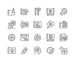 Simple Set of Engineering Design Related Vector Line Icons.  Contains such Icons as Blueprint, Idea, Tools and more. Editable Stroke. 48x48 Pixel Perfect.