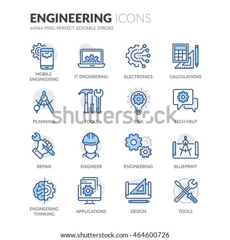 Simple Set of Engineering Related Color Vector Line Icons.  Contains such Icons as Calculations, Blueprint, Engineer, App Design and more.  Editable Stroke. 64x64 Pixel Perfect.