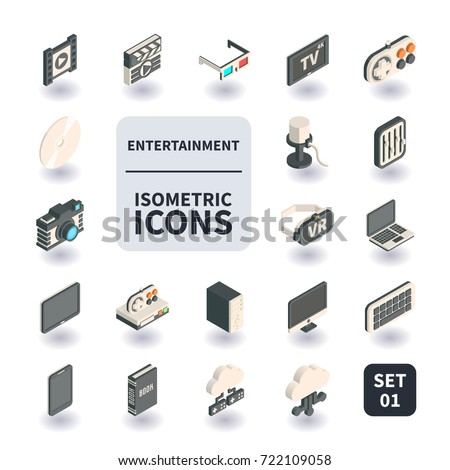 Simple Set of Entertainment Icons in flat isometric 3D style. Contains such icons as Clapperboard, 3D Glasses, Filmstrip, HD TV, Video game console and more.