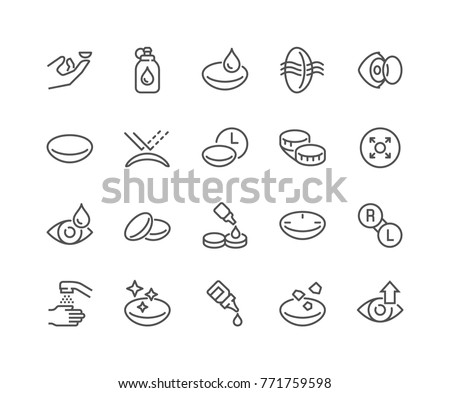 Simple Set of Eye Lens Related Vector Line Icons.  Contains such Icons as Protection Container, Eyedropper and more. Editable Stroke. 48x48 Pixel Perfect.