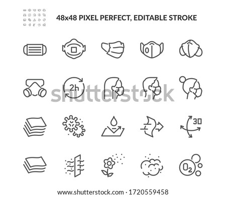Simple Set of Face Mask Related Vector Line Icons. Contains such Icons as Respirator, Surgery mask, Dust and more. Editable Stroke. 48x48 Pixel Perfect.