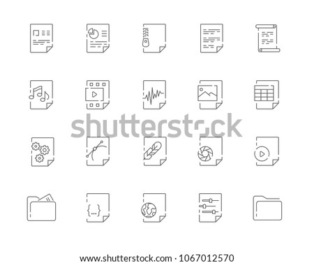 Simple set of File types vector line web icons. Contains such Icons as Document DOC, Presentation PPT, Table XLS, Video AVI, Image JPG and more. Editable Stroke. 48x48 Pixel Perfect.