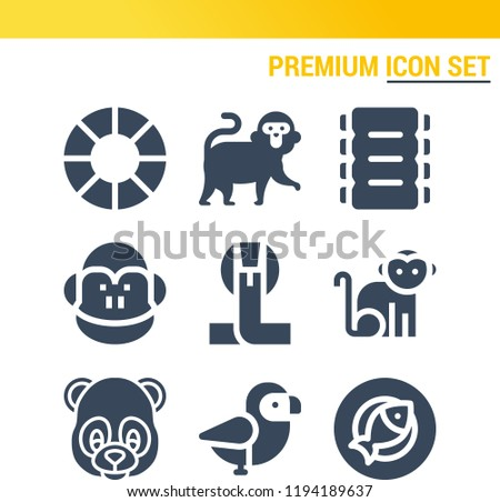 Simple set of  9 filled icons on following themes cobra, monkey, bird, panda, fish, ribs web icons with high quality