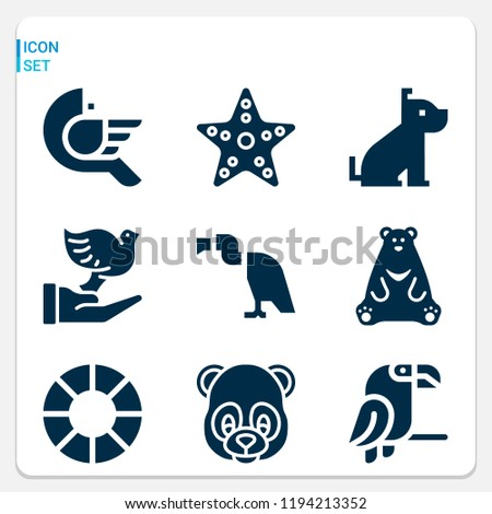 Simple set of  9 filled icons on following themes dog, bear, vulture, panda, bird, parrot, dove, starfish web icons with high quality
