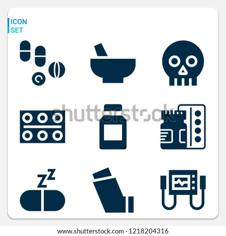 simple set of  9 filled icons