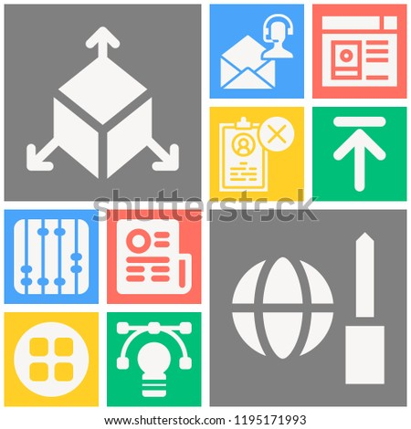 Simple set of  10 filled icons on following themes newspaper, apps, worldwide, vector, user profile, resume, email, settings, upward web icons with high quality