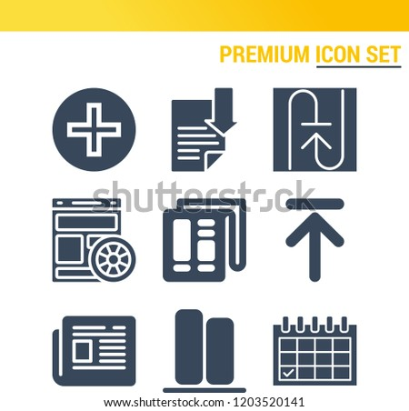 Simple set of  9 filled icons on following themes newspaper, calendar, add, file, website, bottom, upward web icons with high quality