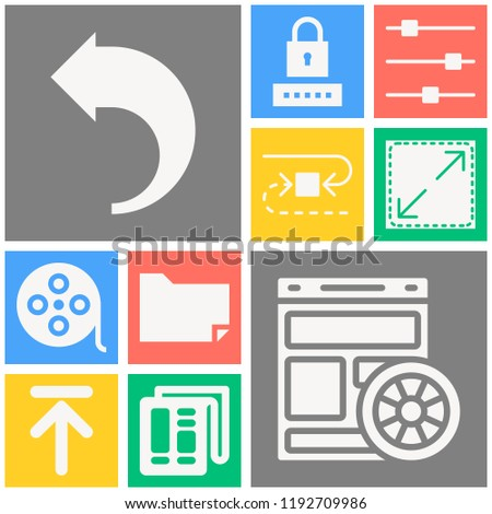 Simple set of  10 filled icons on following themes newspaper, password, movie, folder, return, website, settings, upward, cycle web icons with high quality