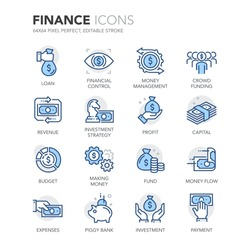 Simple Set of Finance Related Color Vector Line Icons.  Contains such Icons as Crowd Funding, Money Flow, Money Management, Investment Strategy and more. Editable Stroke. 64x64 Pixel Perfect.