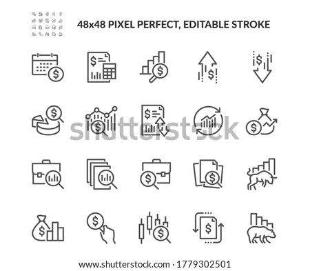 Simple Set of Financial Analytics Related Vector Line Icons.  Contains such Icons as Gainers and Losers, Portfolio Analysis, Financial Report and more. Editable Stroke. 48x48 Pixel Perfect.