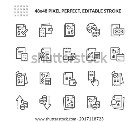 Simple Set of Financial Report Related Vector Line Icons.  Contains such Audit, Receipt list, Expenses document and more. Editable Stroke. 48x48 Pixel Perfect.
