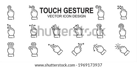 Simple Set of finger touch gesture Related Vector icon user interface graphic design. Contains such Icons as touch, gesture, navigation, touchscreen, finger tip, pinch, control, press, slide, tap, Stockfoto ©